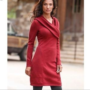 Athleta Sochi red shawl neck sweater dress